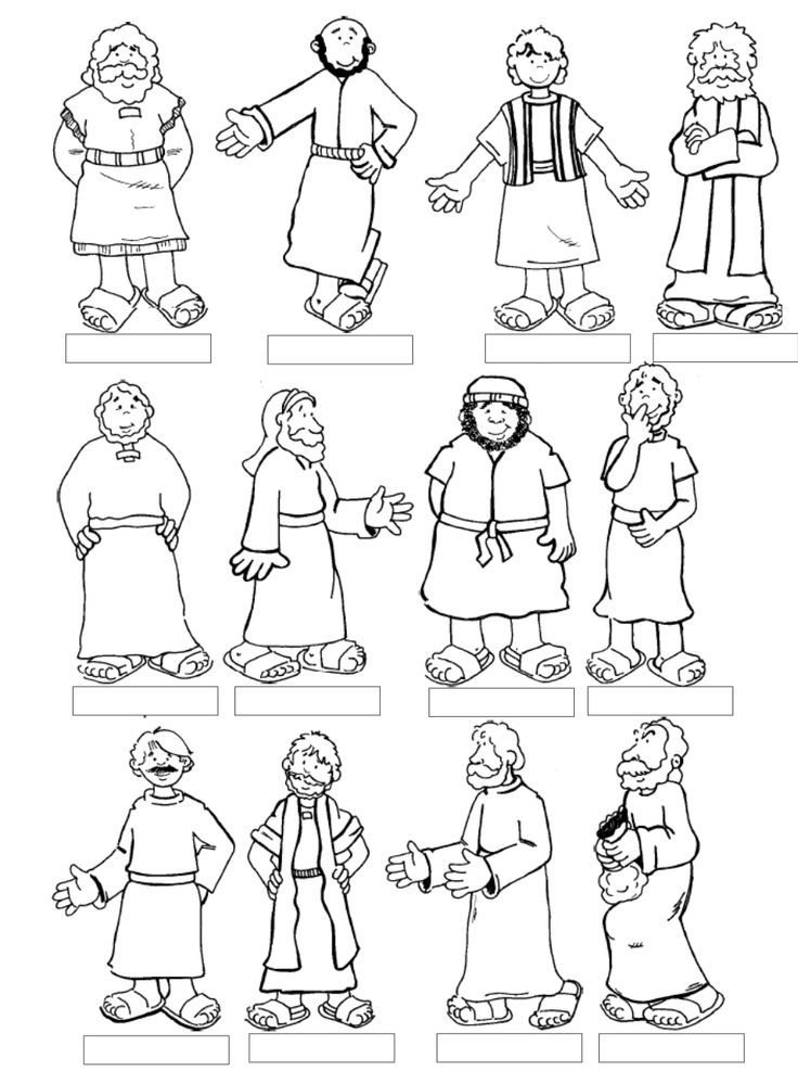 Twelve Apostles Sunday School Coloring Pages Bible Jesus His