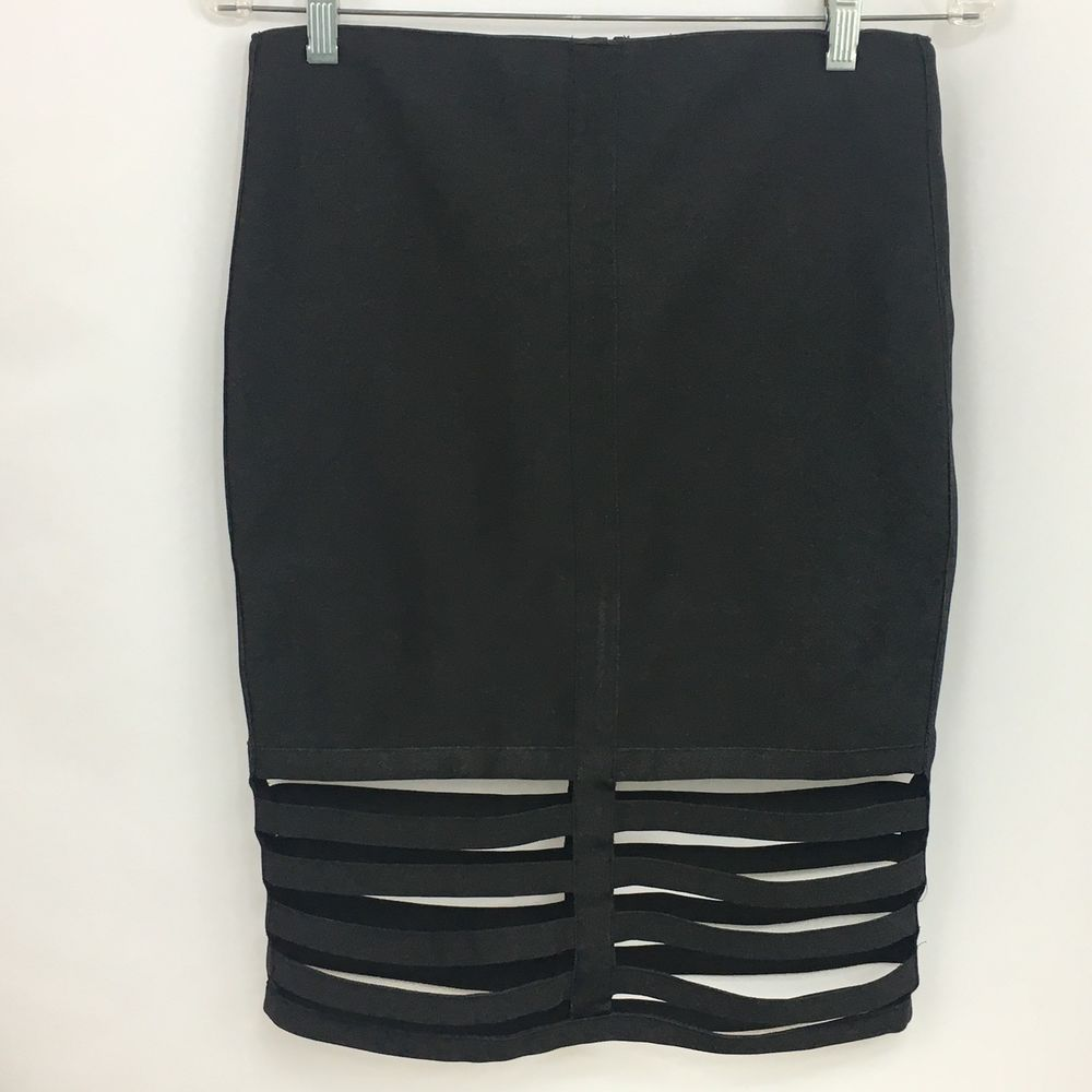 b29be846cce8 Rehab Skirt Black Large Bodycon Stretch Cut Out Hem New NWT  Rehab   StraightPencil