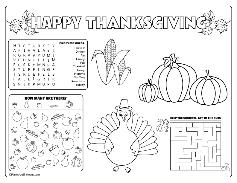 Printable Thanksgiving Placemats For Kids To Solve And Color Thanksgiving To Color Ce2