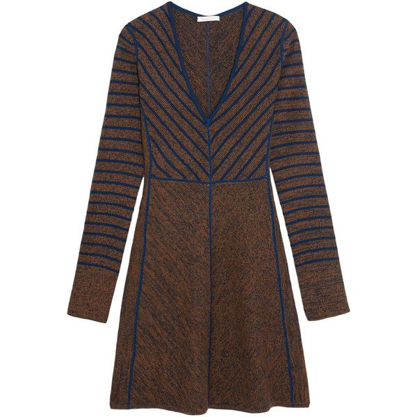 See by ChloéStriped Intarsia Wool Mini Dress ($430) ❤ liked on Polyvore featuring dresses, brown, short striped dress, see by chloé, see by chloe dress, wool dress and short dresses