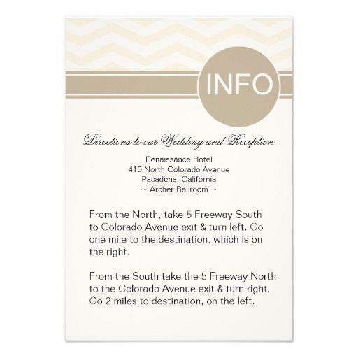 Chic Chevron Info Wedding Directions   blush Personalized Invitation