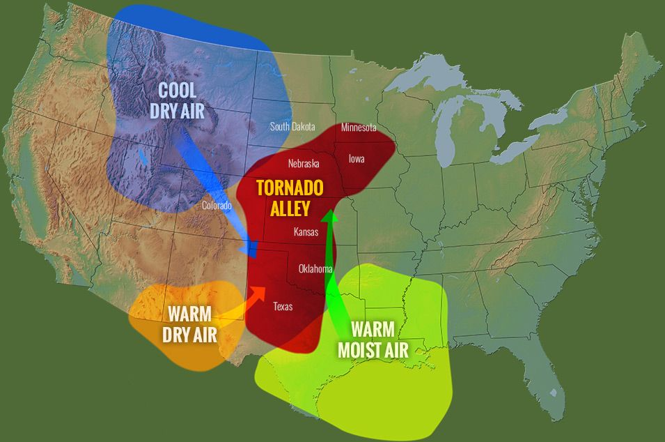 Map of Tornado Alley Map of Tornado