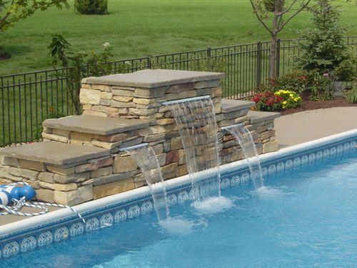 Pool stone waterfall st charles il by swim shack - Swimming pool water feature ideas ...