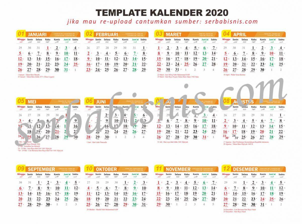 Desain Template Kalender 2020 Lengkap Format Cdr Kalender Desain Kalender Desain