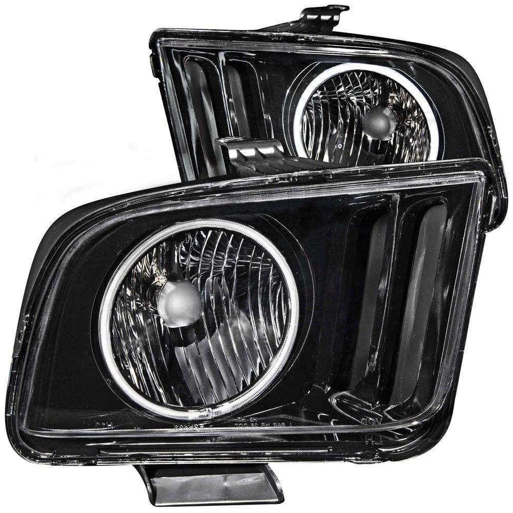 Headlight With Halo Ring Pair V6 Gt 2005 2009 Mustang Headlights 2009 Ford Mustang Ford Mustang