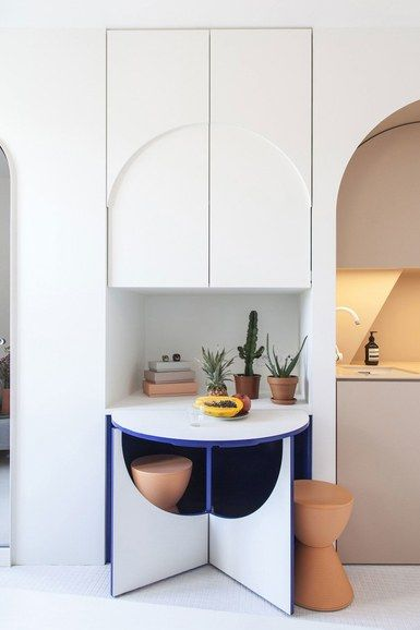 This Playful Parisian Aerie Is Just 120 Square Feet Interior Micro Apartment Modern Dining Room