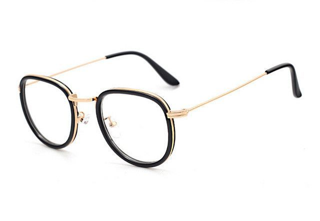 5ce008d1010 Round Transparent Nerd Glasses Vintage Clear Glasses Myopia Men Optical  Lens Retro Gold Women Eyeglasses Frames Eyewear