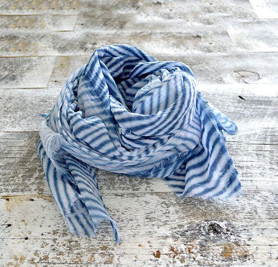 Tie Dye Scarf Cotton Gauze Scarf Linear Lightweight Scarf Navy Blue Tie Dye Scarves Lightweight Scarf Gauze Scarf