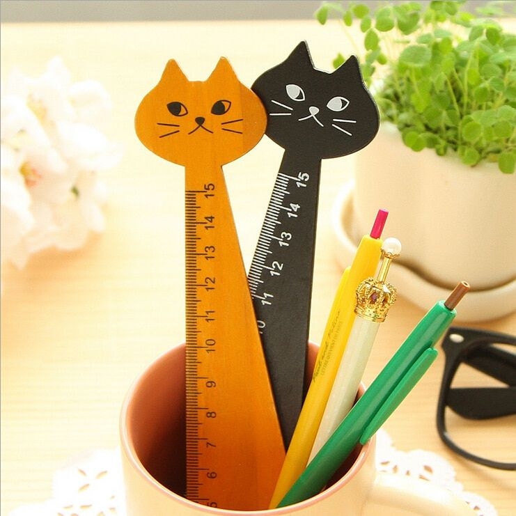 Wood Straight Ruler Cute Cat For Child Kid Student Centimetre Measure Stationery