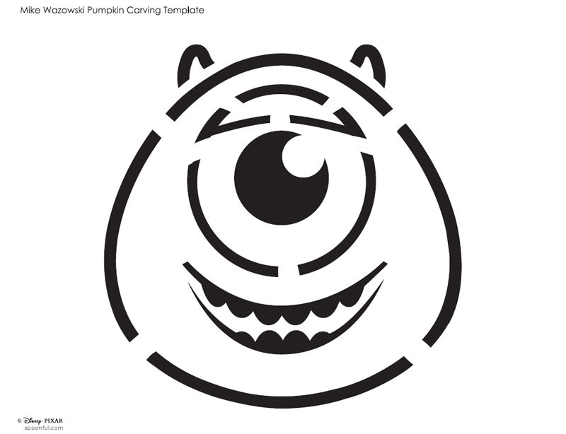 Disney pixar mike monsters inc free halloween pumpkin for Sully pumpkin template