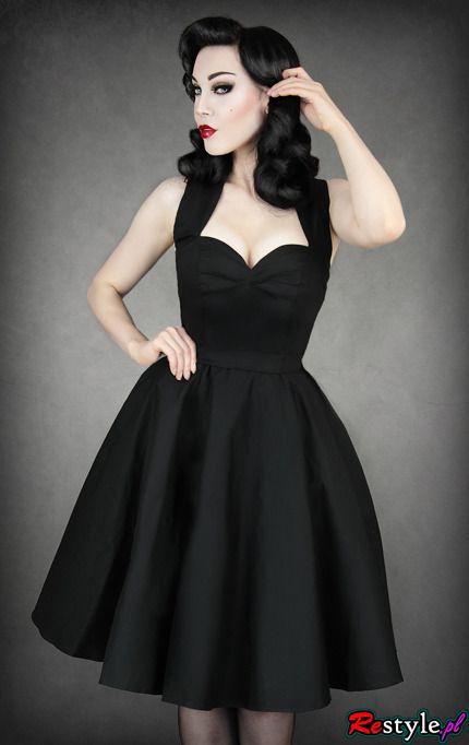 a5bcbbb957 pin up 50  BLACK DRESS heart neckline petticoat
