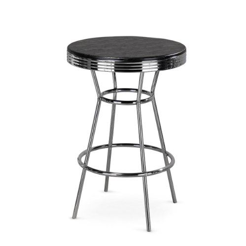 Cheap Dining Sets For Sale: Poundex 40-Inch Retro Bar Table, Metal Chrome