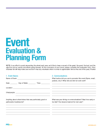 Pto Today Event Evaluation And Planning Form  Pta