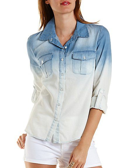 Ombre Chambray Button-Up Top: Charlotte Russe #chambray #ombre #spring
