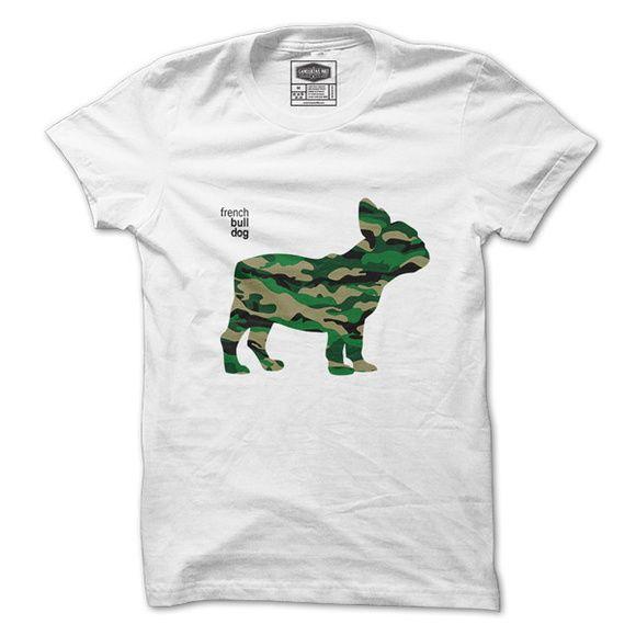 713907cf2 Camiseta  Bulldog Francês Camuflado. Masculina e Feminina ...