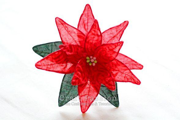 Fabric Poinsettia Diy Tutorial Christmas Craft Passion Holiday Fabric Crafts Christmas Crafts Flower Making Crafts