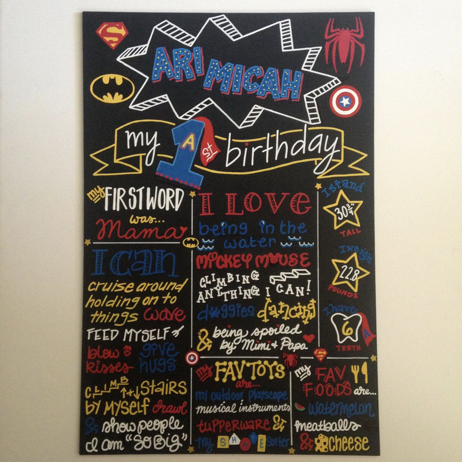 Hand Painted Superhero Themed Chalkboard Personalized Birthday Board by BeYoutifulVAriety on Etsy