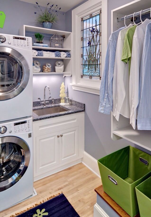 Love this laundry room the wall color