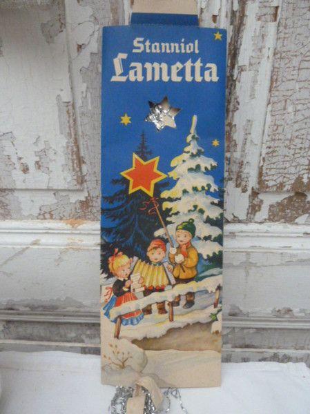 Weihnachtsdeko Lametta.Vintage Weihnachtsdeko 50er Jahre Stanniol Lametta Lauscha Ein