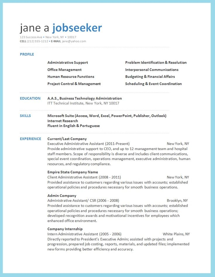 Example Work Resume Resume Downloads Free resume