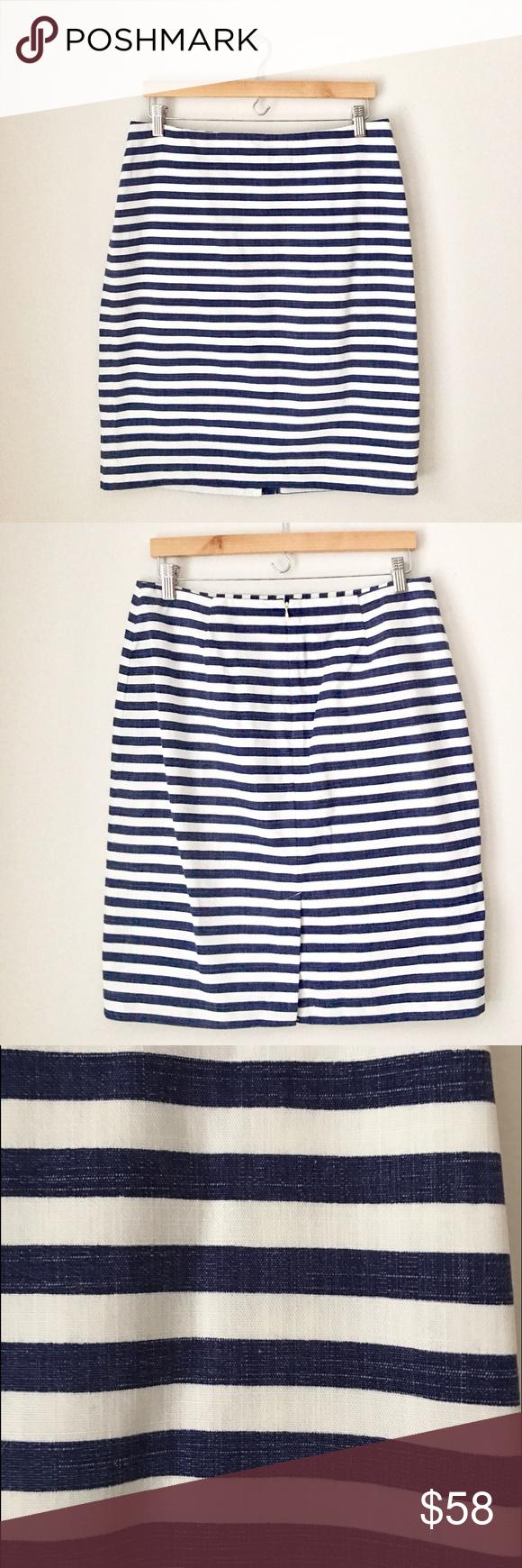 Talbots Navy & White Cotton Striped Pencil Skirt Gorgeous classically preppy blue & white striped cotton pencil skirt by Talbots. Rear zip & vent. Size 10. Like new. Talbots Skirts Pencil