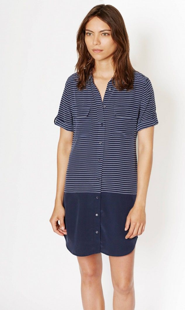 Equipment - SHORT SLEEVE  SLIM SIGNATURE DRESS WITH CONTRAST