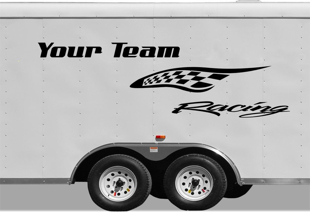 Checkered Racing Stripe Trailer Decal Vinyl Decal Custom Text - Custom vinyl racing decals