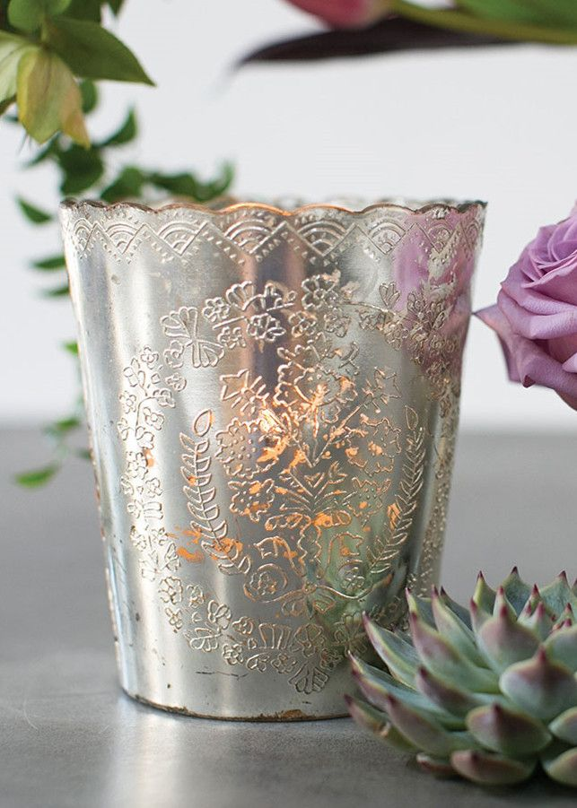 Mercury Glass Scalloped Desiray Floral Vase in