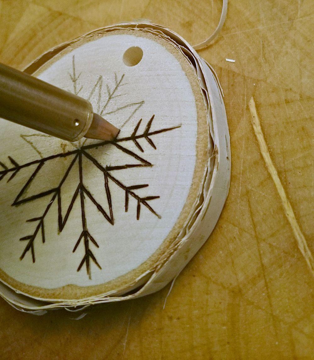 DIY Birch Wood Slice Ornament with Wood Burned Design