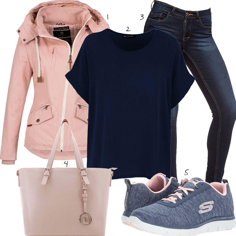 Dunkelblau Rosa Damenoutfit mit Shirt und Skechers | clothes