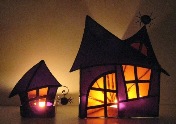 PAIR Halloween Stained Glass Candle Holders Halloween Decoration Haunted Mansion Wicca Purple Orange Handmade OOAK via Etsy