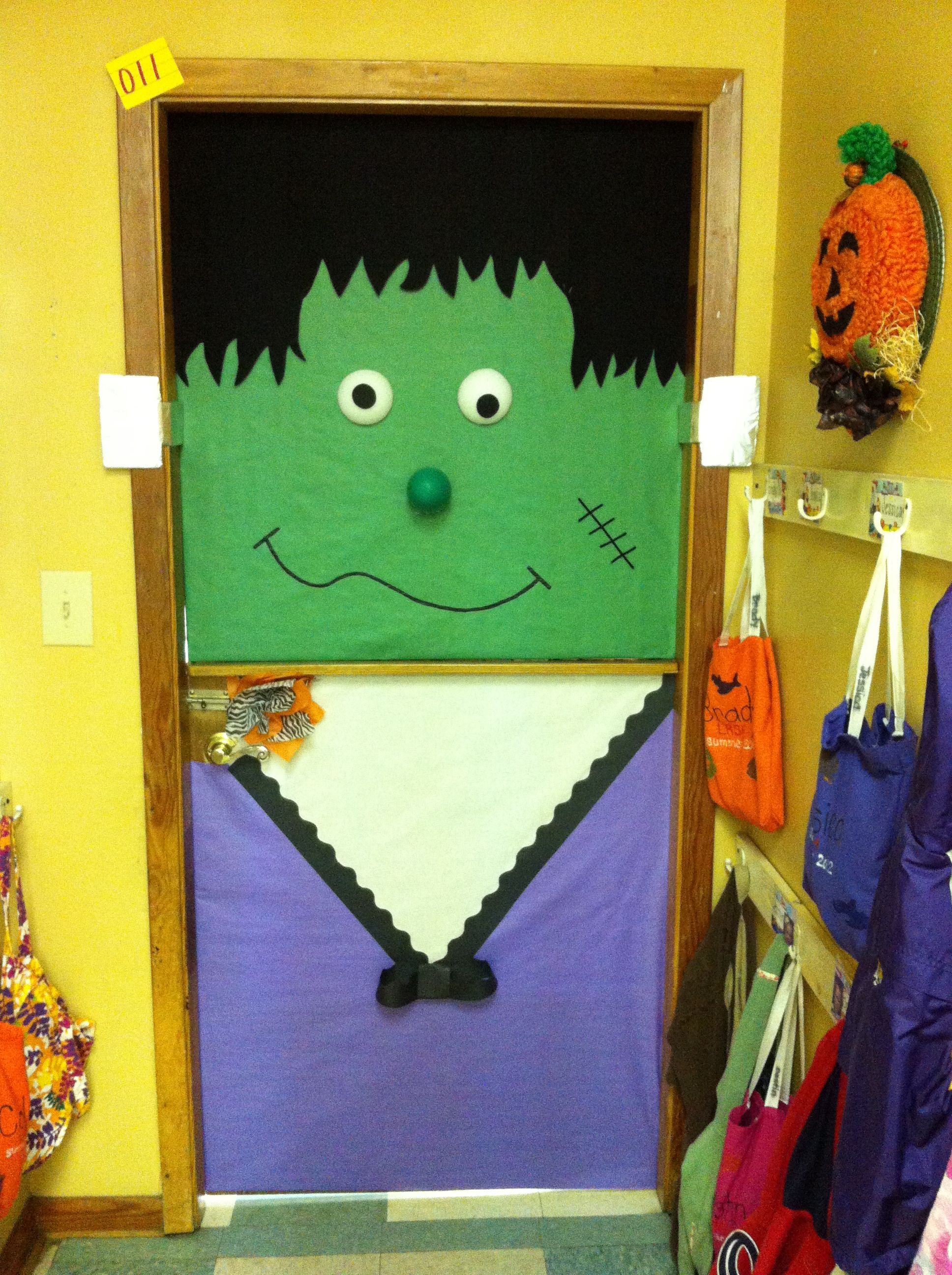 My Frankenstein classroom door!!! Halloween Crafts and Snacks - Halloween Classroom Door Decorations