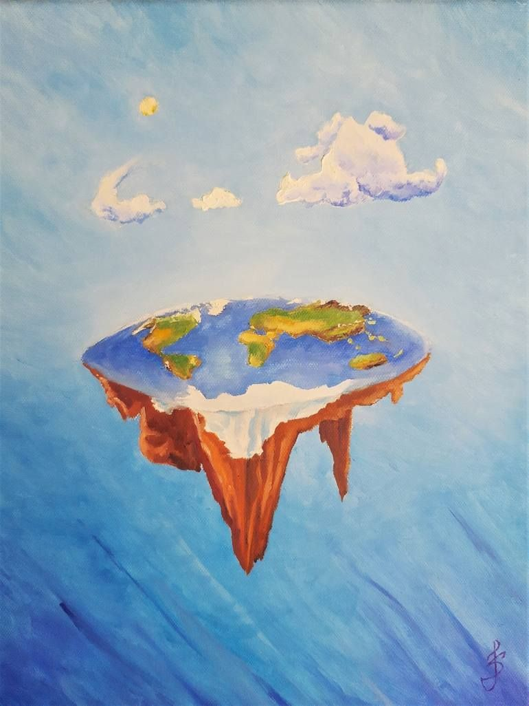 Flat Earth Painting Painting Earth Art Earth Illustration