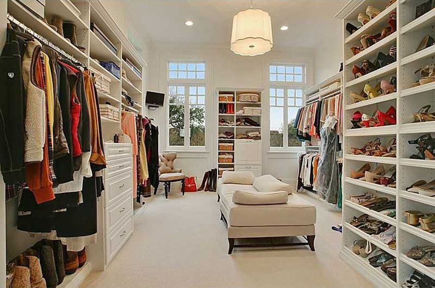 A contemporary walk-in closet designm which uses the typical all white color scheme to make way for the different colors of clothes and shoes inside the ... & 35 Beautiful Walk in Closet Designs | Beautiful Walk in Closet ...
