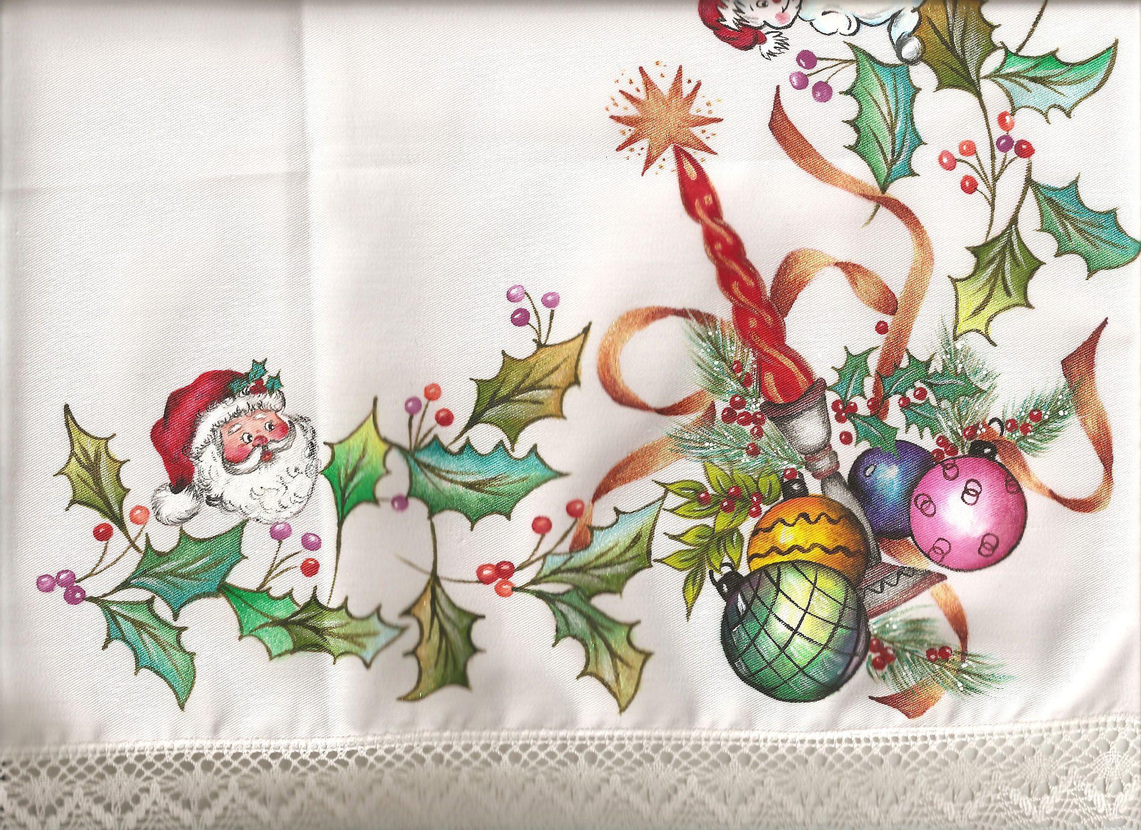 Pintura en tela esquina mantel navidad mis - Manteles de navidad ...
