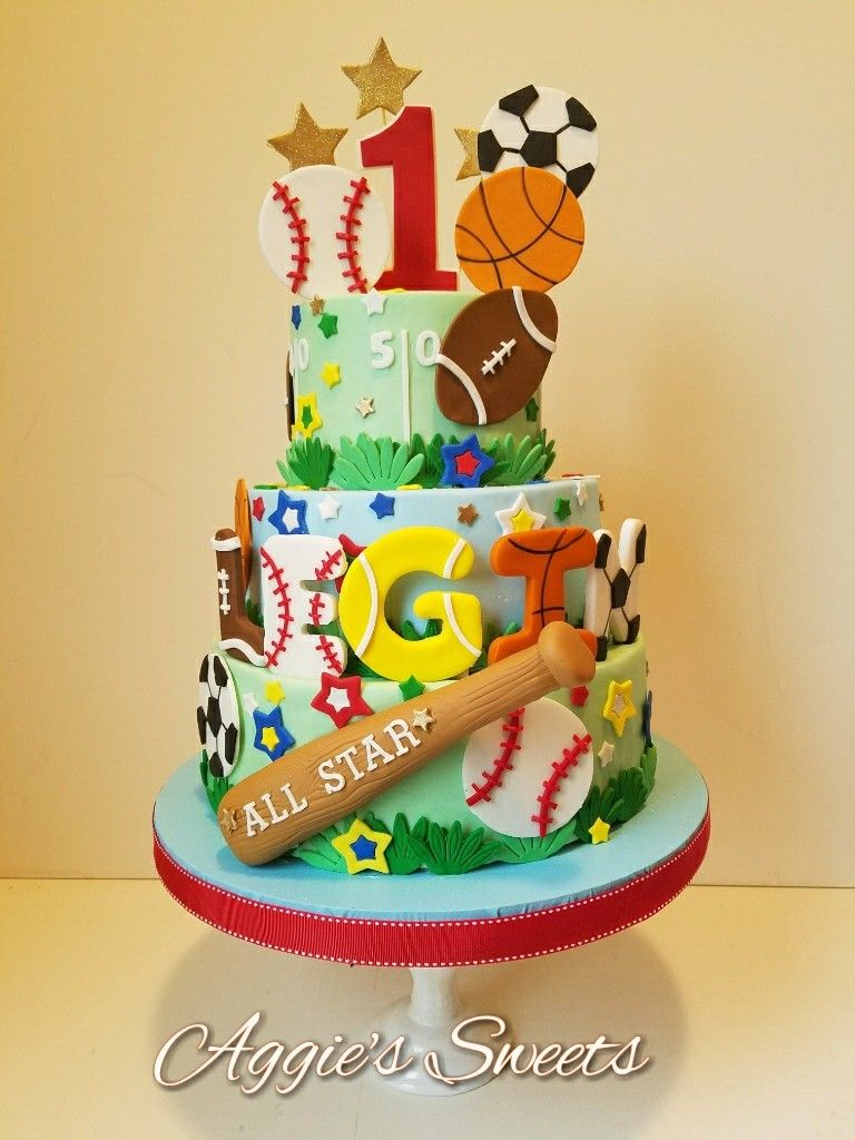Outstanding All Star Sports Themed 1St Birthday Cake Sports Birthday Cakes Funny Birthday Cards Online Elaedamsfinfo