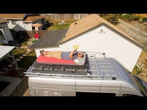 Diy Sprinter Van Rooftop Deck Platform For 25 Or Less Youtube Rooftop Deck Sprinter Van Rooftop