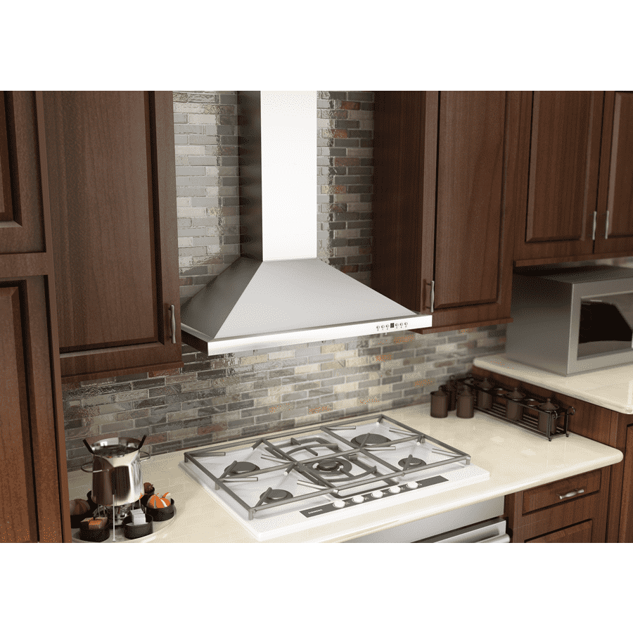 ZLINE 42 in. Convertible Vent Wall Mount Range Hood in Stainless Steel with Crown Molding (KBCRN-42)