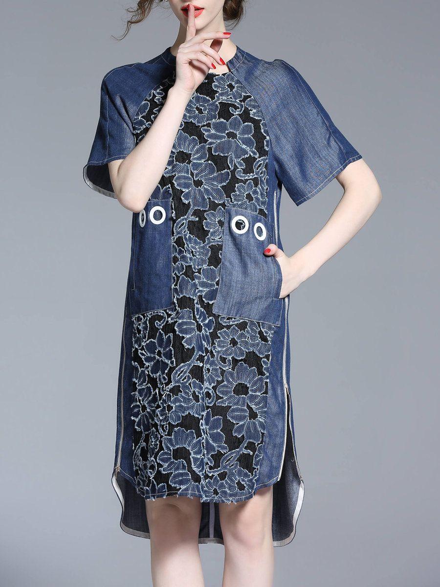 Adorewe stylewe midi dresses designer oushang blue vintage shift