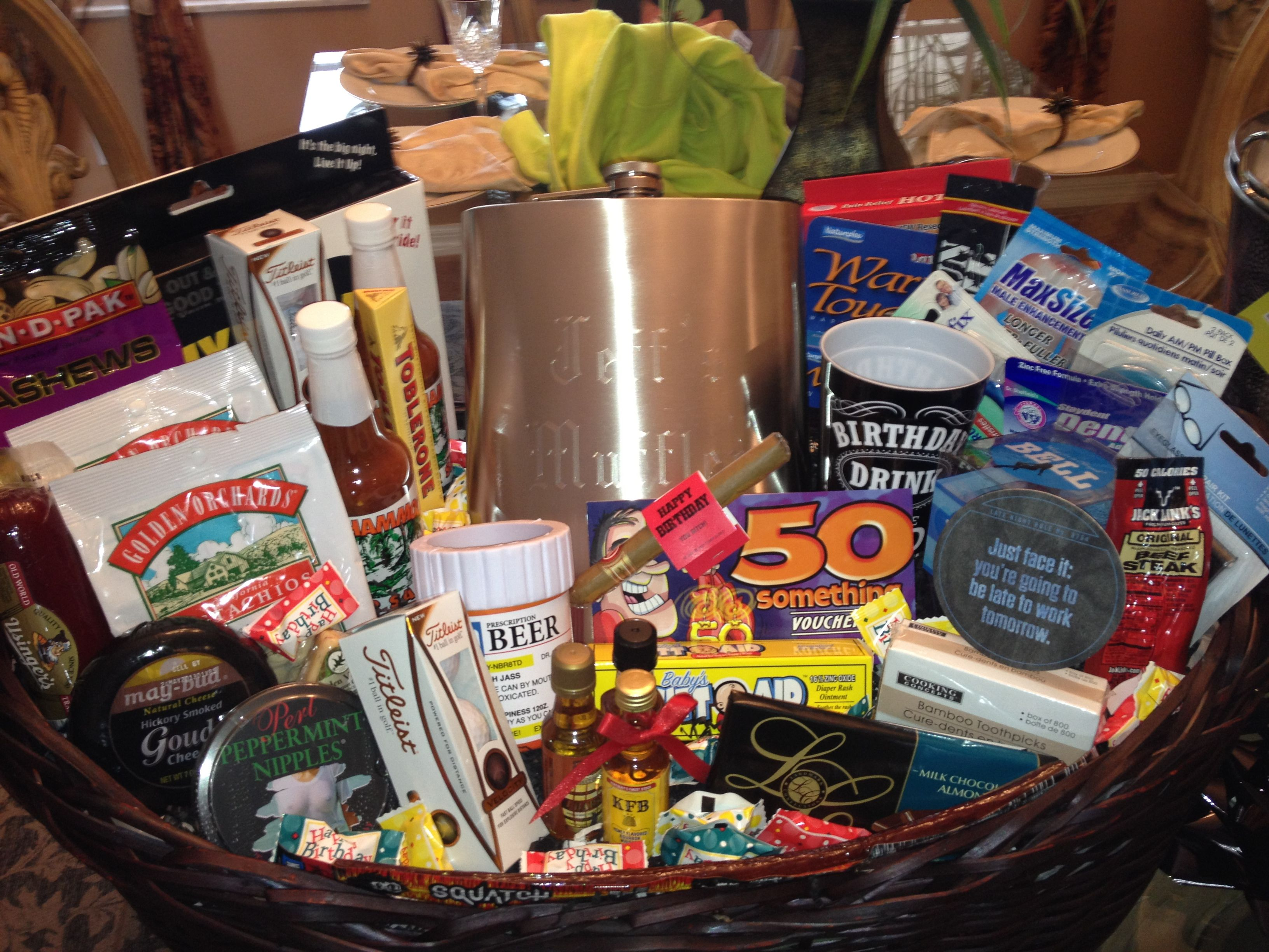 50th Birthday Gift Basket For Him Gift baskets for him