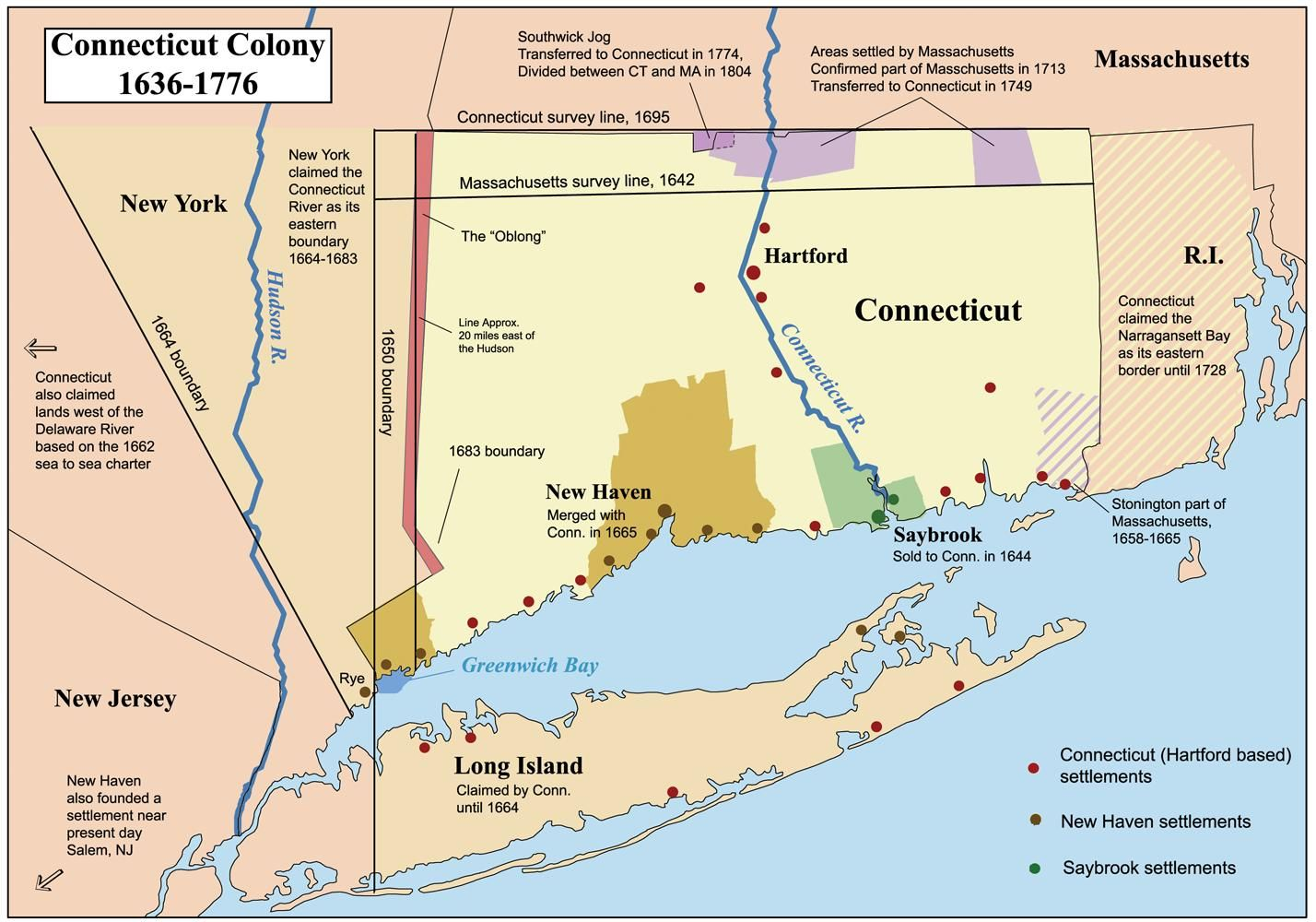 Evolution Of The Connecticut Colonys Borders MAPS - 1776 us map