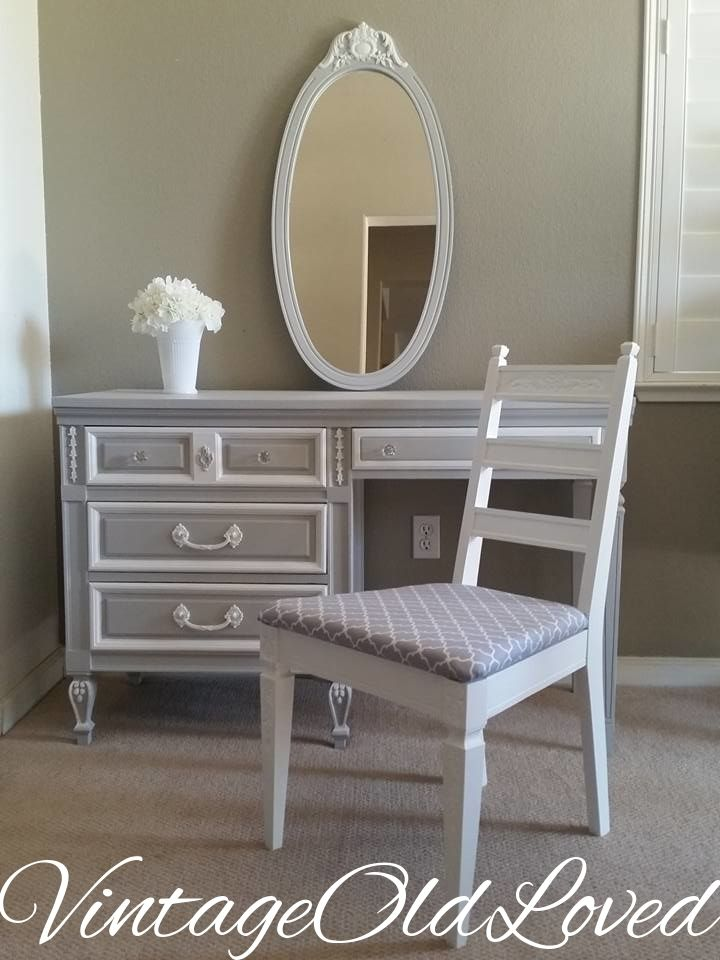 vintage dixie desk vanity painted grey and white painted furniture rh pinterest com