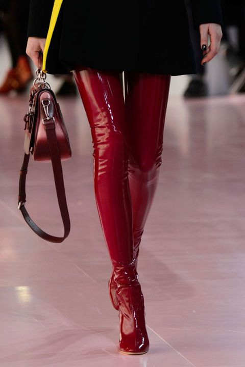 Shiny Red Patent Leather Crotch Boots