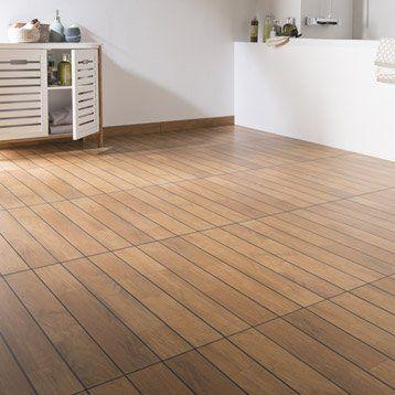 Carrelage sol et mur teak effet bois Caravelle l30 x L604 cm - Sol Teck Salle De Bain