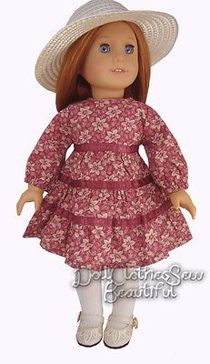 DRESS + STRAW HAT made for American Girl Doll Clothes BARGAIN