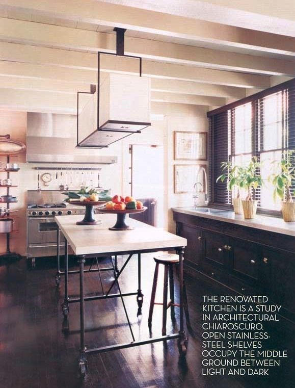 love this kitchen island great mix of textures styles very rh pinterest com au