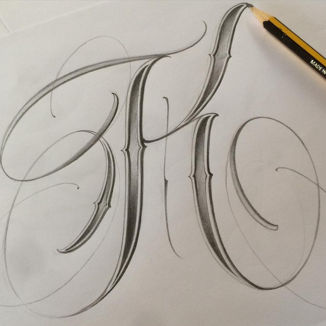 INITIAL DAY K sketch Diseños de letras, Estilos