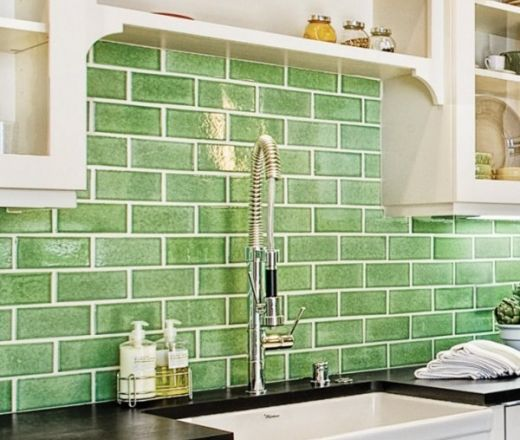 Green Kitchen Backsplash: Ceramic Subway Tile Kitchen Backsplash