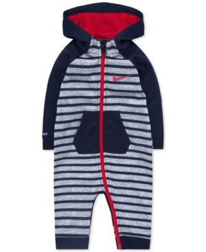 75c3213c9 Nike 1-Pc. Hooded Striped Therma-fit Coverall, Baby Boys (0-24 months) -  Blue 6-9 months