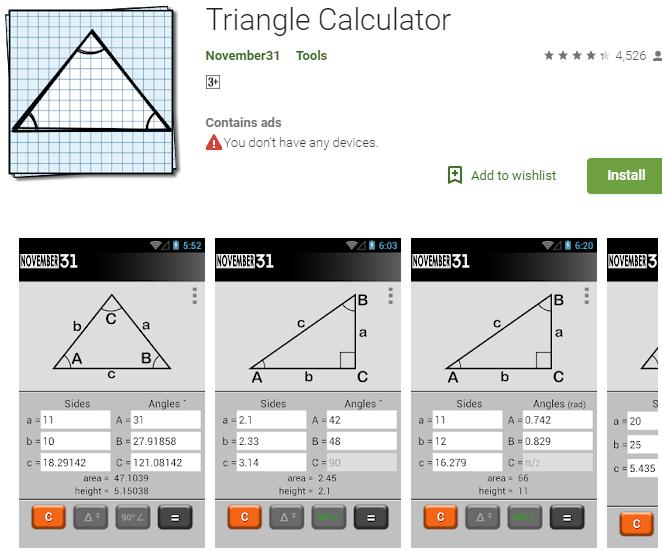 Triangle Calculator Trigonometry Solving App